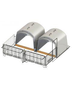 Adapost dublu pentru vitei CalfHouse Premium XL cu grilaj de prindere